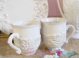 GG法式希腊外贸陶瓷美式奶茶水杯大容量象牙白浮雕作旧复古花边杯,杯子,