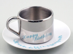 丹麦PO: Happy Birthday 生日快乐倒影杯/茶杯/咖啡杯 P390,杯子,