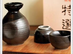 【日本进口】典雅古朴手制黑天慕影刷精致清酒壶杯酒具3入礼盒装,杯子,