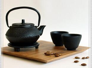 出口日本铁铸铁茶壶平丸纹急须瓶茶具无涂层配2杯壶垫四入组,杯子,