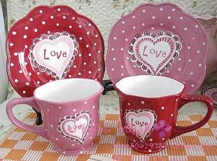 外贸彩绘陶瓷可爱早餐下午茶微瑕疵水玉点甜心情侣对杯碟4件套装,杯子,