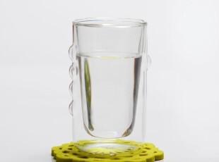 创意 双层 隔热 玻璃杯 透明 水杯 防滑 玻璃茶具 个性双层杯,杯子,