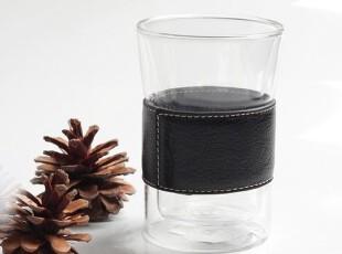 头层皮 真皮护套 双层隔热杯 耐热玻璃杯 可拆卸,杯子,