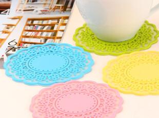 简家 三金冠 创意家居甜美复古半透明镂空蕾丝隔热杯垫 K0141,杯子,