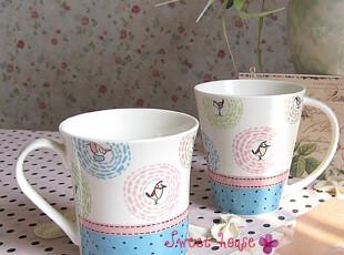 外贸陶瓷杯子水牛奶茶咖啡早餐ZAKKA星巴克水玉点快活鸟情侣单杯,杯子,