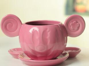 【批发】萌货陶瓷卡通马克杯 米老鼠套杯 杯碟组 无包装 2*6,杯子,