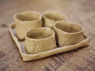 饰物志|氧气素麻 陶艺茶杯 品茗杯 四杯带小茶盘 日用生活陶瓷,杯子,