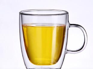 小北家-GL32 清凉夏日玻璃杯子 双层杯 带把手 大水杯马克杯 包邮,杯子,