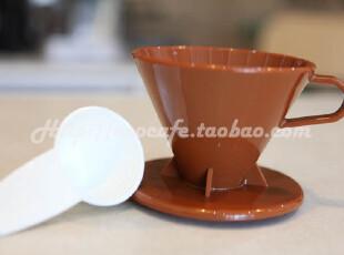 疯狂低价 Tiamo1-4杯 圆锥型咖啡过滤器 滤杯 滴漏咖啡壶 咖啡色,杯子,
