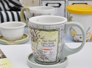 外贸田园风格 陶瓷茶杯带盖 有滤网 马克杯 水杯 办公室杯 茶杯,杯子,