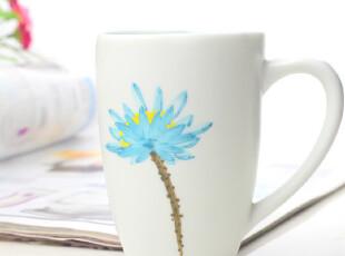 四叶草创意手工杯  陶瓷水杯 有柄水杯  盛开(天蓝色),杯子,