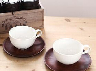 「韩居屋」原木杯垫 经典纯白 情侣咖啡杯套件 韩国进口杯li010,杯子,