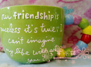 欧美原单 外贸陶瓷 甜蜜螺旋 彩色珠珠手把 汤杯 水杯 面杯 绿色,杯子,