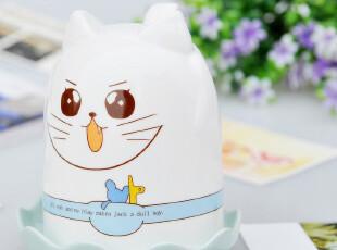 四叶草可爱猫倒立杯 韩版 卡通陶瓷杯 牛奶杯 带盖,杯子,