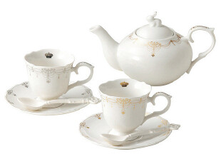 宫廷风非骨瓷金银杯子情侣对杯茶壶茶具套装实用结婚礼物特价包邮,杯子,
