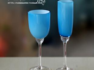 海洋蓝时尚家居酒柜玻璃高脚杯/葡萄酒杯/香槟杯装饰摆设2套件,杯子,