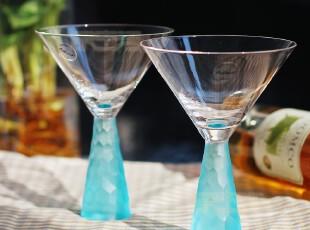 欧式外贸手工蓝色磨刻鱼鳞水晶玻璃鸡尾酒杯红酒杯套装 冰激凌杯,杯子,