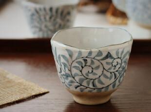 外贸原单 日式和风茶具 陶瓷茶杯 大号茶道杯 纯手绘杯子 蓝草3款,杯子,