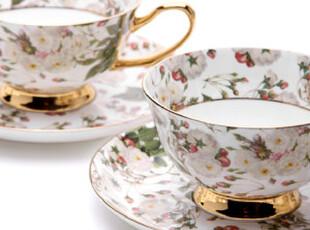 [玲珑堂] 外贸高品质 法式描金彩绘骨瓷咖啡杯礼盒装(2杯2碟),杯子,