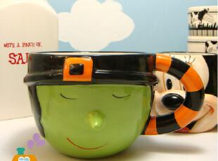 【单品】杯子 创意 韩国小绿人浮雕陶瓷咖啡杯/汤杯/早餐杯,杯子,