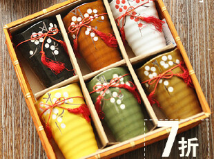 7折疯抢 和风创意水杯 日式陶瓷茶杯子樱花杯 礼品礼盒套装6个入,杯子,
