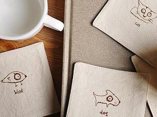 复古 棉麻动物涂鸦创意 杯垫 布艺 外贸 一套4款花纹,杯子,