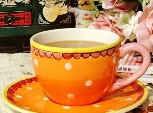 荷兰BLONDAMSTERDAM手绘陶瓷/快乐太太水玉点牛奶咖啡杯/燕麦杯,杯子,