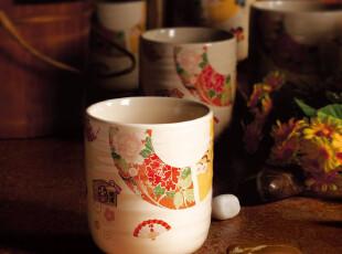 [三环陶瓷] 6头日式直桶杯 樱花道 礼品瓷器 马克杯 浮雕杯 杯子,杯子,