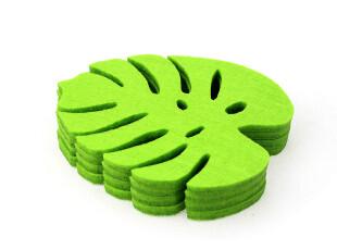 爱尚品创意环保杯垫四件装 时尚羊毛毡隔热杯垫 树叶形隔热垫碗垫,杯子,