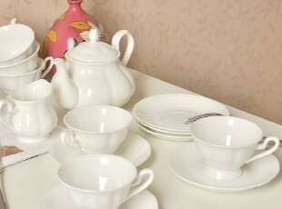 Cdesigner 纯白の优质骨瓷.北欧咖啡具套装6杯6碟壶糖罐奶盅Y047,杯子,