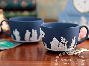 英国制Wedgwood Jasper 波特蓝碧玉浮雕 希腊神话咖啡茶杯 单杯,杯子,