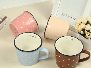 波点创意杯子可爱zakka风格咖啡杯 陶瓷杯马克杯牛奶杯早餐杯水杯,杯子,