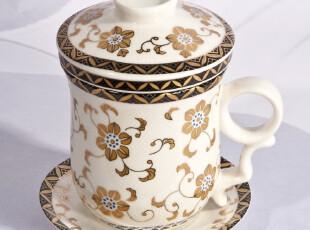家居装饰 复古陶瓷静心杯 金盏花面 办公杯茶杯 水杯带托盘茶漏,杯子,