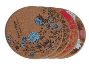 INFUN 花语软木杯垫 隔热杯垫/茶垫 高密度橡木软木小资情调餐垫,杯子,