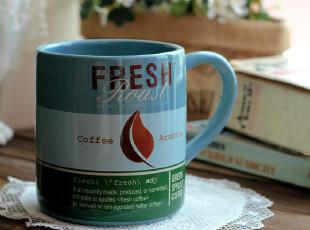 《钟情》 灰蓝色大容量杯子  复古马克杯 早餐杯 咖啡杯,杯子,