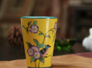 特价!出口欧美/纯手绘陶瓷裂纹釉水杯/漱口杯牙杯/喜鹊,杯子,