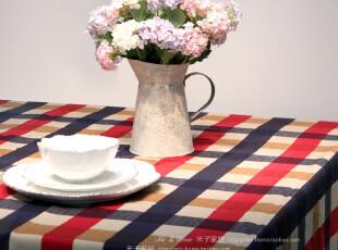 米子家居居家布艺时尚搭配盖布台布 纯棉地中海格子桌布茶几布,桌布,