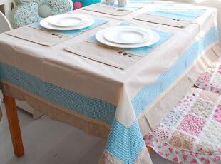 爬爬之家*素格*田园纯棉布艺餐桌布 蓝格子棉麻台布 韩式乡村盖布,桌布,