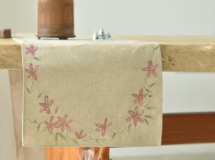 原创 手绘 水洗亚麻 桌旗 桌布 餐桌垫 茶几垫 餐垫,桌布,