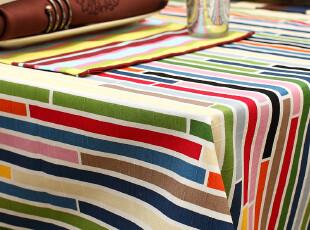 致惠 彩色条纹餐桌布台布茶几布 地中海竹节棉茶几桌布 流光溢彩,桌布,