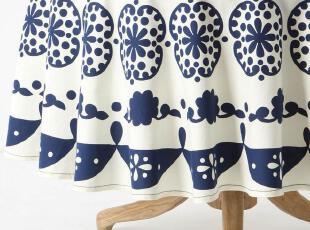 【纽约下城公园】 田园风奶白底蓝色圆形印花桌布 直径228cm 现货,桌布,