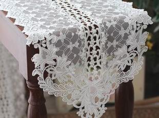 韩国正品代购 白色浪漫镂空花蔓蕾丝桌旗/蕾丝桌布 装饰垫巾,桌布,