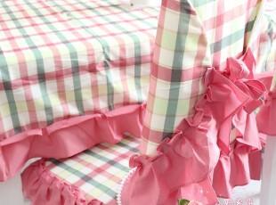 英伦风格子桌布餐桌椅套椅垫布艺组合套装9件套13件套(红格),桌布,