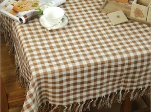 文艺小清新 咖啡色小格子桌布 台布,桌布,