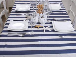 【天天特价】条纹餐桌桌布布艺 蓝色地中海台布 茶几布盖布 包邮,桌布,