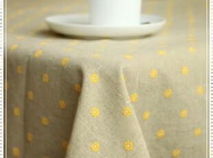 清新甜美田园风欧式精致黄雏菊印花全棉钩花花边桌布台布盖布,桌布,