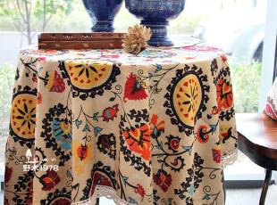 【现货】地中海桌布 异域吉祥花 棉麻桌布茶几布台布 超大1.8m,桌布,