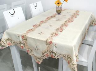 小艾家居 1018 欧式田园奢华绣花餐桌布/桌旗台布餐垫茶几布 布艺,桌布,