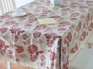 国色天香 棉麻印花桌布/餐桌布/布艺台布 140*180CM,桌布,
