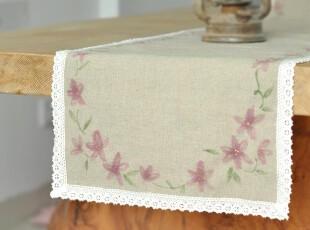 原创 手绘 亚麻 布艺花边 桌旗 餐桌布 餐垫 茶几垫,桌布,